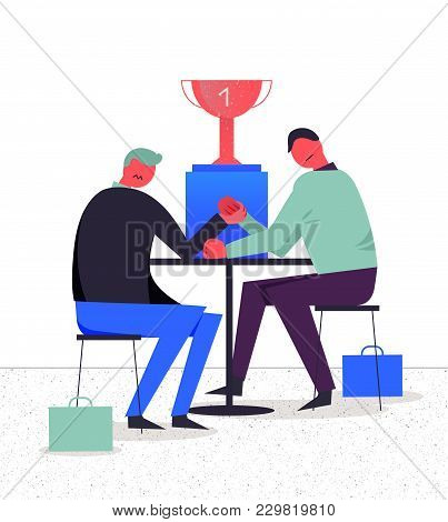 Vector Business Illustration, Stylized Characters. Competition Between Two Businessmen, Arm Wrestlin