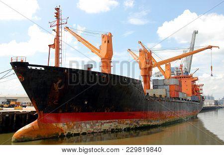 Cargo Ship Moored At Shipyard Savannah, Georgia