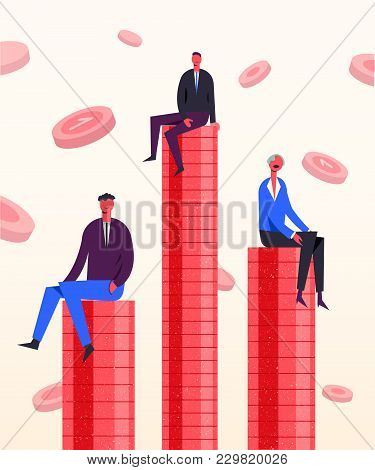 Vector Business Concept Illustration. Stylized Characters Sitting On The Coins. Competition In Earni