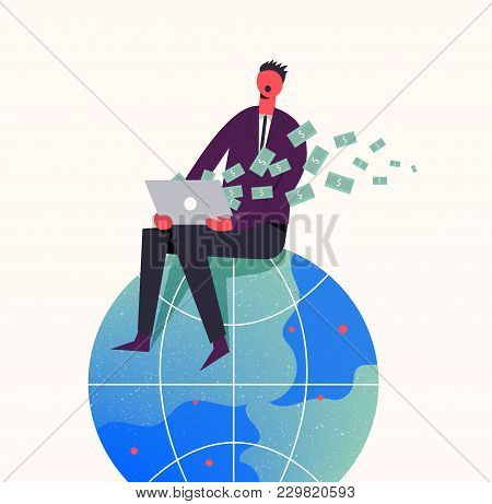 Vector Business Concept Illustration. Stylized Character Sitiing On The Globe. Earning Money In The