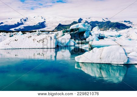 Amazing View Of Icebergs In Glacier Lagoon, Jokulsarlon, Iceland. Global Warming And Climate Change