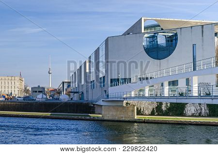 Berlin, Germany - February 23, 2018: City Centre With Swiss Embassy Building To The Left, Television