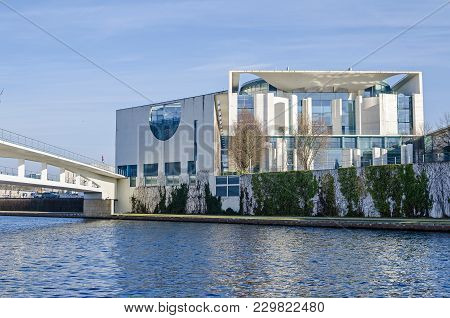 Berlin, Germany - February 23, 2018: City Centre With The German Federal Chancellery ( Bundeskanzler