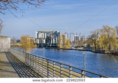 Berlin, Germany - February 23, 2018: City Centre With The German Federal Chancellery,  Television To