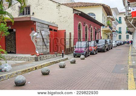 Panama City, Panama - November 3, 2017: A Street In The Historic District Casco Viejo (spanish For O