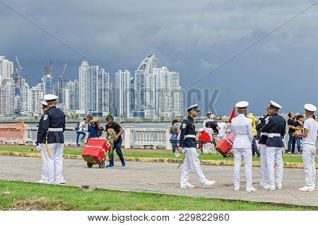 Panama City, Panama - November 3, 2017: Students Celebrating The Independence Day Preparing For The