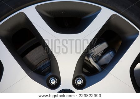 Puilboreau, France - August 7, 2016 : Close Up Of Steel Rims And Braking System From A Sports Car Wh