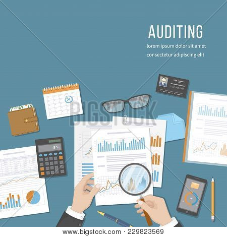 Auditing Concepts. Auditor Inspects Financial Documents. Accounting, Analysis, Analytics. Businessma