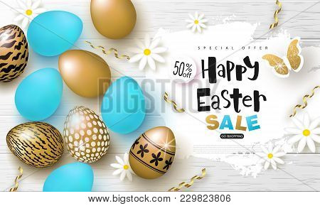Happy Easter Sale Banner.background With Beautiful Eggs, Flowers, Butterfly And Serpentine On Wooden