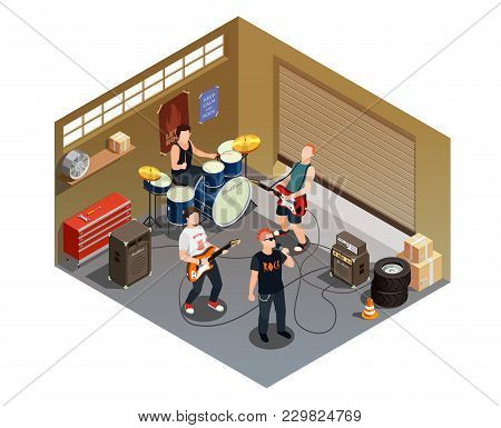 Garage Band Isometric Composition With Rock Musicians And Instruments Including Singer With Micropho