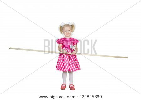 Girl 3 Years Old In A Red Dress On A Transparent Background Png File. Beautiful Little Girl In A Bri