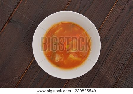 Celery Soup With Vegetables On A Table
