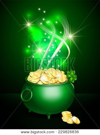 Green Iron Cauldron Full Of Gold Coins With Mystic Bright Light On Dark Background. Stack Of Gold Co
