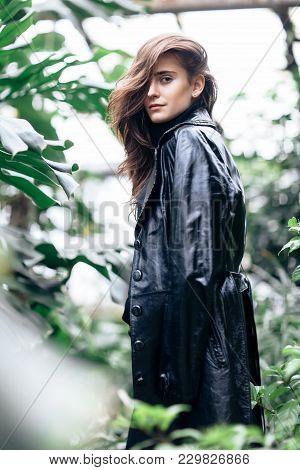 Fashion Portrait Of Beautiful Stylish Woman In Leather Jacket