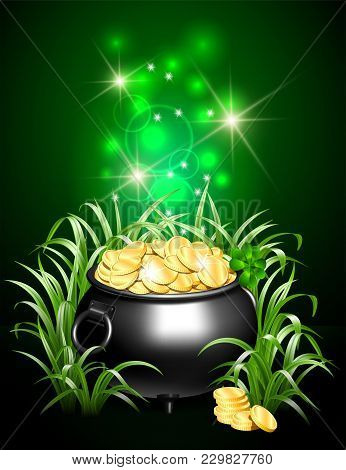Black Iron Cauldron Full Of Gold Coins With Mystic Bright Light In Grass On Dark Background. Stack O