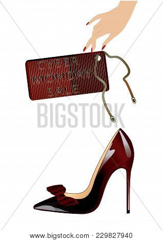 Cyber Monday Sale - Realistic High-heeled Shoe, Lacquered, Burgundy Black - Badge Label On Chain, Wo