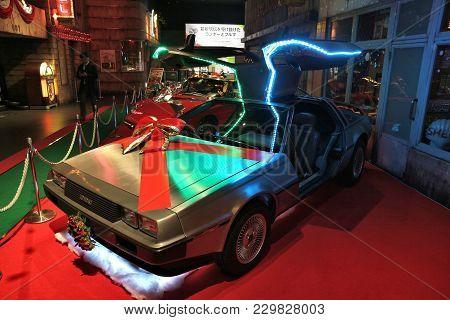 Tokyo, Japan - December 2, 2016: Dmc Delorean Car Presented In History Garage Of Mega Web: Toyota Ci