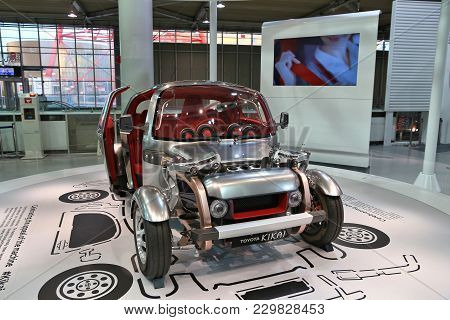 Tokyo, Japan - December 2, 2016: Concept Futuristic Car Presented In Mega Web: Toyota City Showcase.