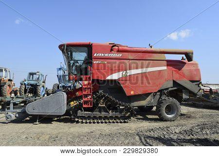 Russia, Poltavskaya Village - September 6 2015: Combine Harvesters Agricultural Machinery