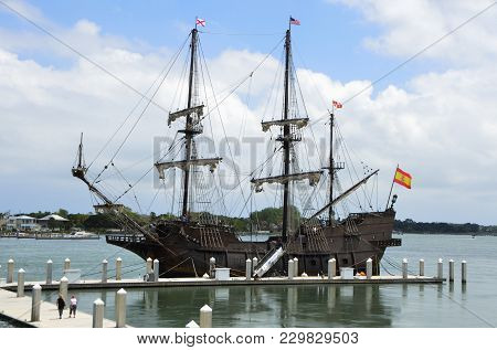 Historic Galleon Ship Moored At St. Augustine, Florida