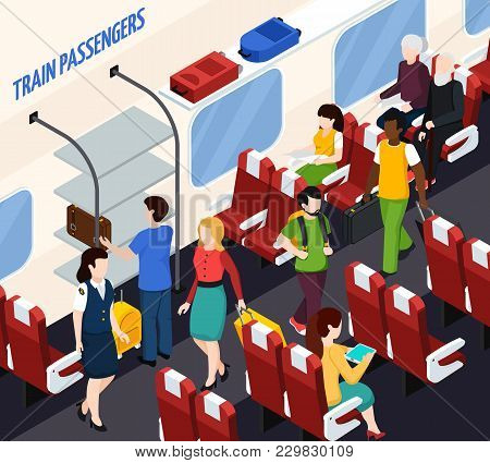 Passengers And Woman Conductor In Train Interior With Red Armchairs, Baggage On Shelves Isometric Co