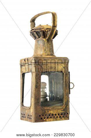 Old Kerosene Rusty Lamp On A White Background, Isolated