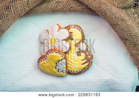 Set Of Romantic Decorated Gingerbread Having Shapes Of Hearts And Flowers
