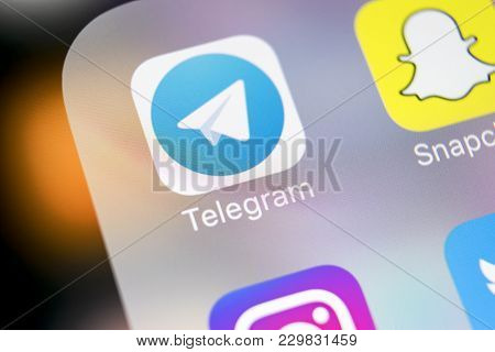 Sankt-petersburg, Russia, March 6, 2018: Telegram Application Icon On Apple Iphone X Screen Close-up