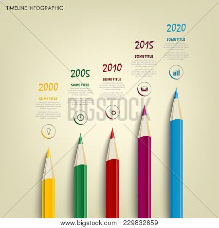 Time Line Info Graphic With Colored Pencils Template Vector Eps 10