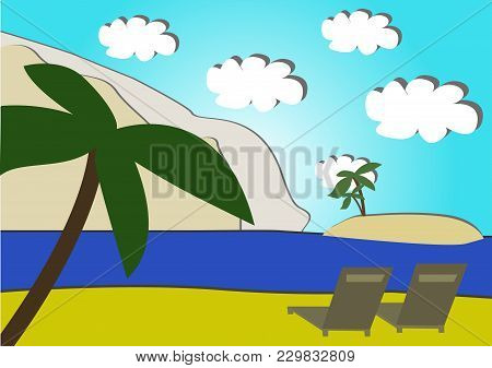 Vector Image Of Relaxing At The Seaside On Tropical Islands, Two Deck Chairs Against The Backdrop Of
