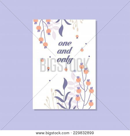 Romantic Greeting Card With The Inscription One And Only, Trendy Postcard For Valentines Day, Annive