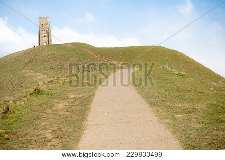 Glasonbury Tor With The Ruins Of St Michael's Church