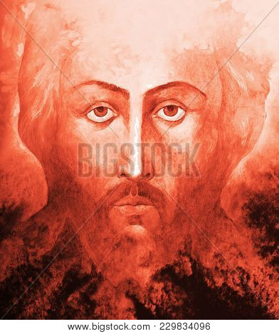 The Picturesque Fresco Of Jesus Christ On A Bright Red Background