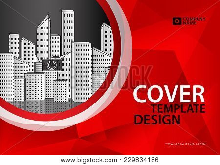Red Cover Template Polygon Background, Brochure