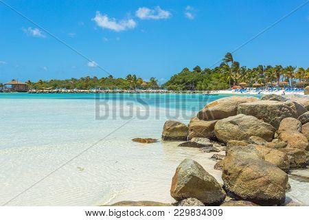 Flamingo Beach At Aruba. Renaissance Aruba Private Island