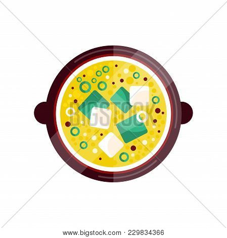 Bowl Of Vegetable Soup With Cream Vector Illustration Isolated On A White Background.