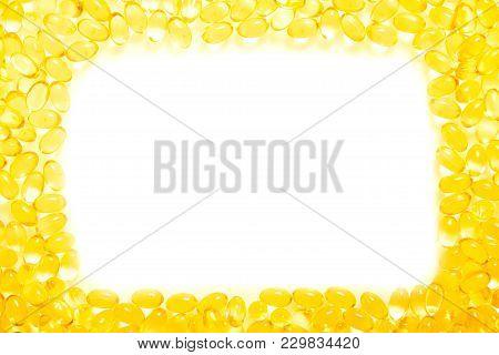 Frame Or Border Fish Oil, Soft Capsule, Omega On White Background