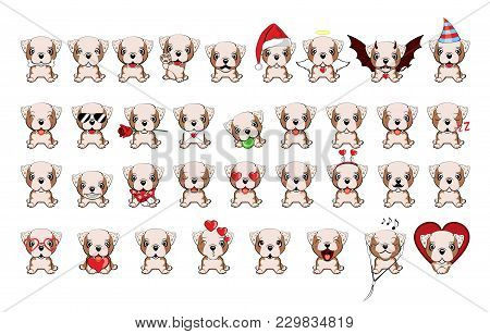 Bulldog -  Illustration. English Bulldog. Big Set Of 35 Different Little Dogs. Brown Puppies With Di