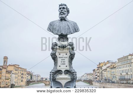 Florence, Italy - 16 February, 2016: Benvenuto Cellini Monument On Ponte Vecchio. He Was One Of The