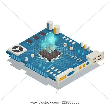 Spectre Cpu Hardware Security Vulnerability Bug Isometric Composition With Computer Motherboard And