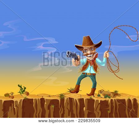 Vector Cartoon Cowboy In American Traditional Costume, Jeans, Hat, Waistcoat And Boots, With Gun And