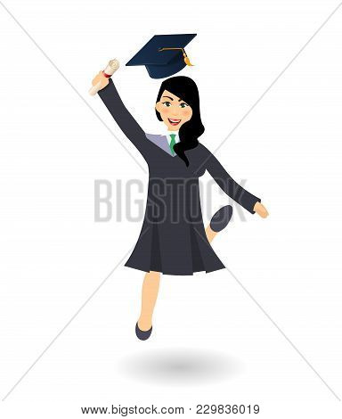 Diploma Graduating Jumping Happy Student Girl. A Young Graduate Woman Holding Certificate Or Diploma