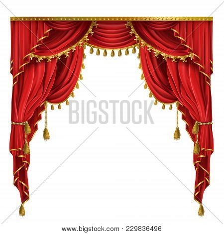 Vector Realistic Luxury Red Curtains In Victorian Style, With Drapery, Tied With Golden Cord With Ta