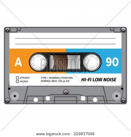 Plastic Audio Cassette Tape. Realistic Illustration. Isolated On White.