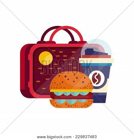 Lunch Bag With Hamburger And Cup Of Coffee, Healthy Food For Kids And Students, Children Lunch Time