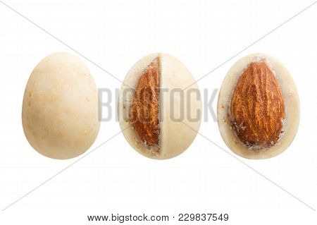 Sugared Almond Dragee In White Chocolate Isolated On White Background