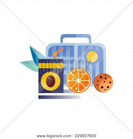Lunch Bag With Cookie, Juice And Orange, Healthy Food For Kids And Students, Children Lunch Time Vec