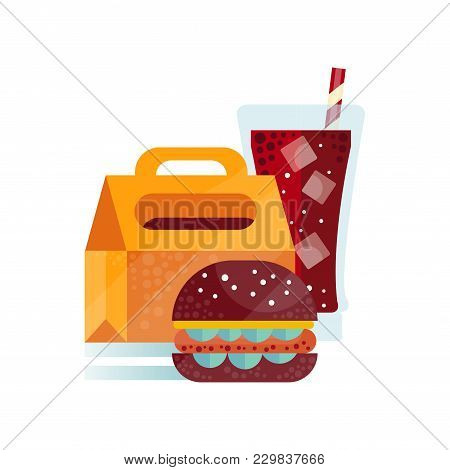 Lunch Bag With Burger And Soda Drink, Healthy Food For Kids And Students, Children Lunch Time Vector