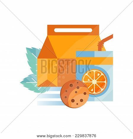 Lunch Bag With Cookie And Orange Juice , Healthy Food For Kids And Students, Children Lunch Time Vec