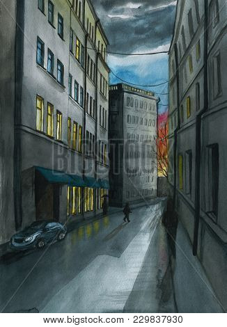 Watercolor Drawing Of The City Landscape, Decoration, Background, In Dark Tones, High-rise Buildings